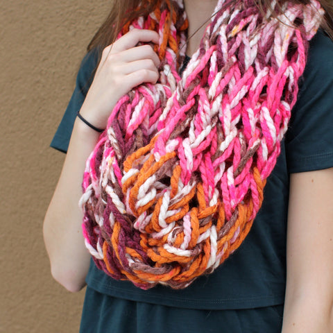 Colorful pink handmade cowl