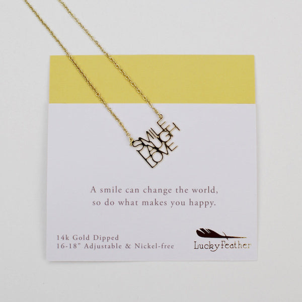 Lucky Feather motivational necklace Smile Laugh love
