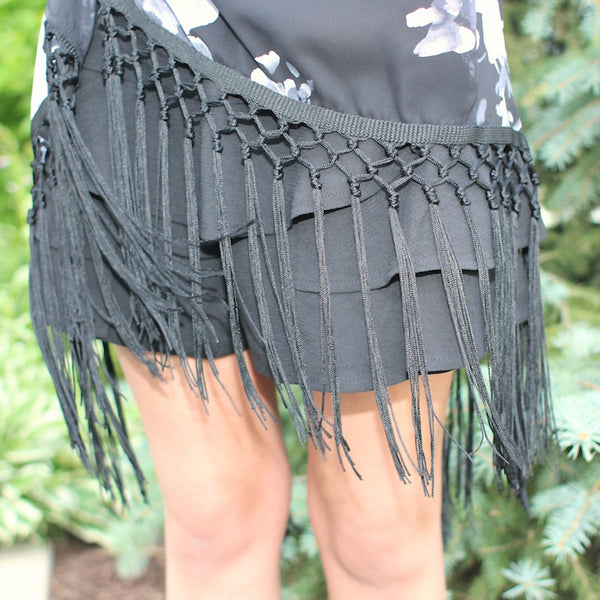 sheer floral kimono in black and grey with fringe detail