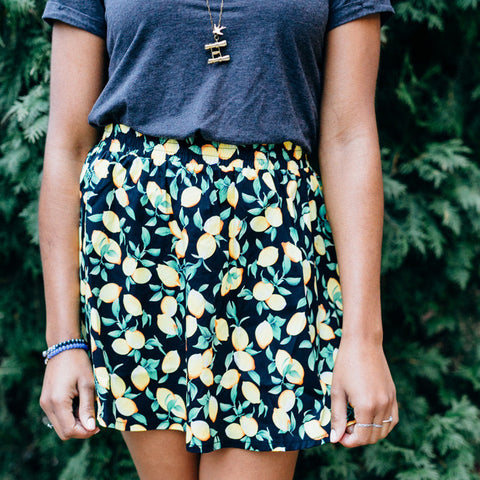Kling Black skirt with lemon print