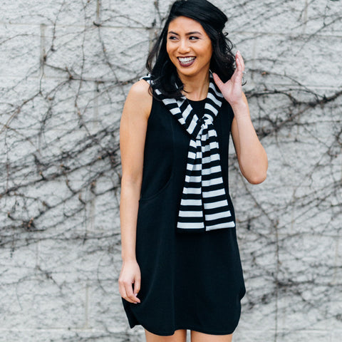 Molly Bracken little black dress with removable striped hood in black and white