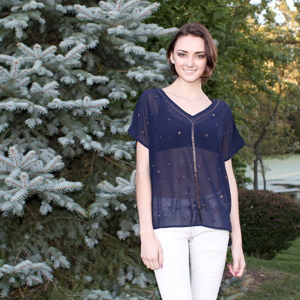 molly bracken blue sheer top with beads
