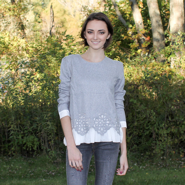 Molly Bracken grey warm winter top with laser cut  detailing and pleated blouse underneath