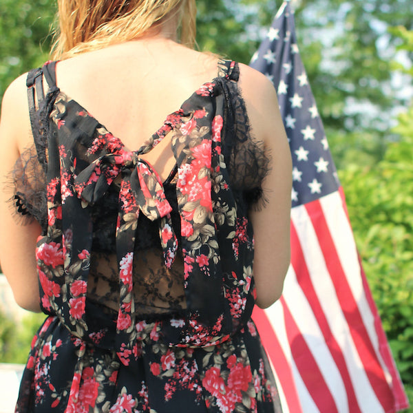 Made in the USA Potter's pot floral black and red dress with lace details.