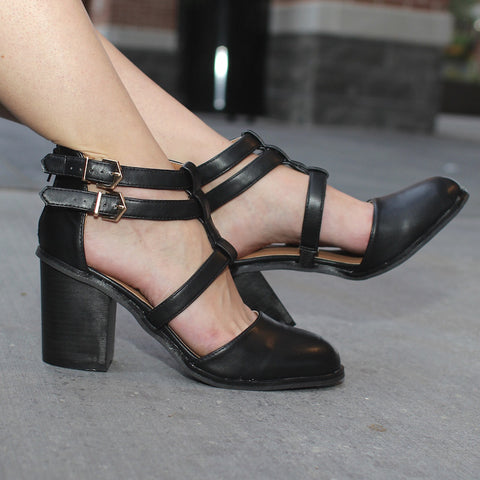 Black Qupid Varsity heels with straps