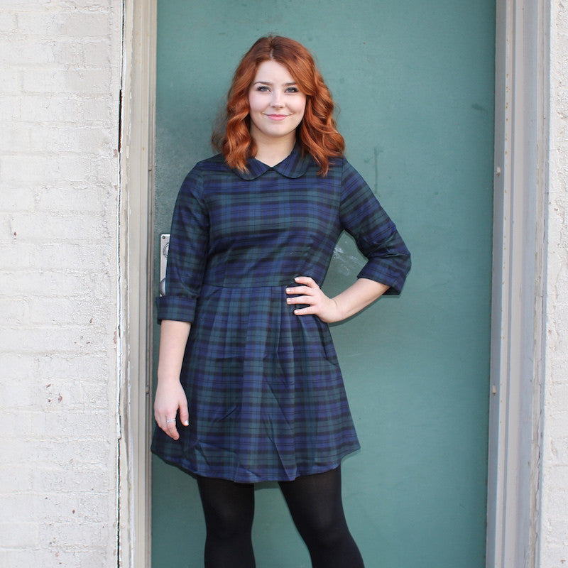 Kling fall tartan plaid dress in blue and green with peter pan collar