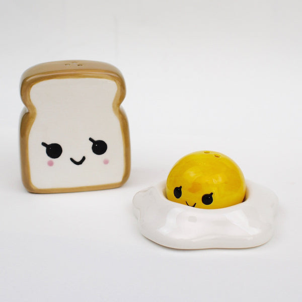 Cute salt and pepper set in the shape of a toast and sunny side up egg