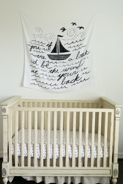 Organic Cotton Muslin Swaddle Blanket + Wall Art (Boat Song Lyrics) Bundle