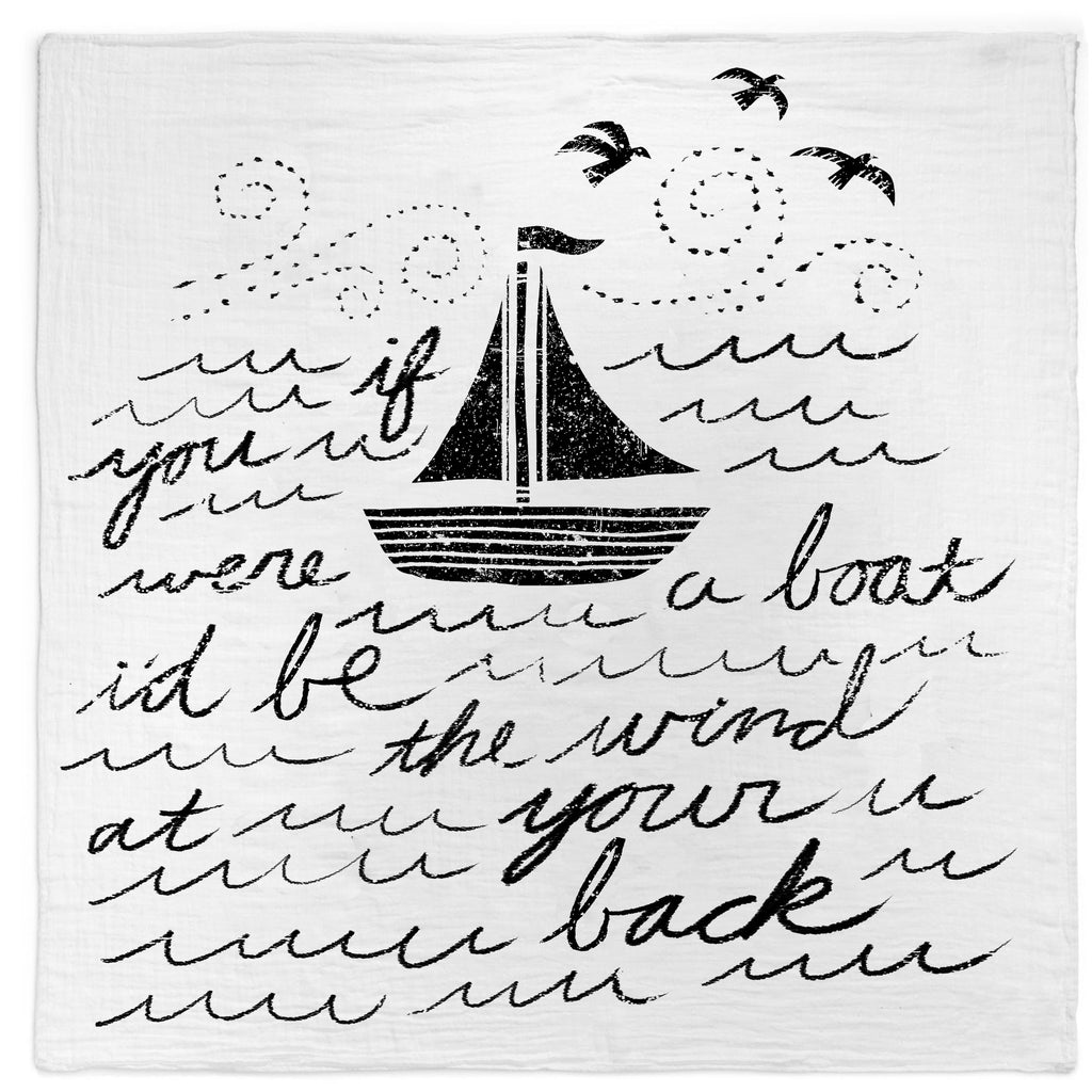 Organic Cotton Muslin Swaddle Blanket + Wall Art (Boat Song Lyrics)