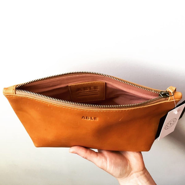"Tan ""Big Love"" Leather Pouch by ABLE"