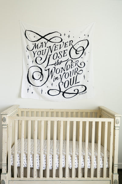 Organic Cotton Muslin Swaddle Blanket + Wall Art (Hand To Hold Lyrics)