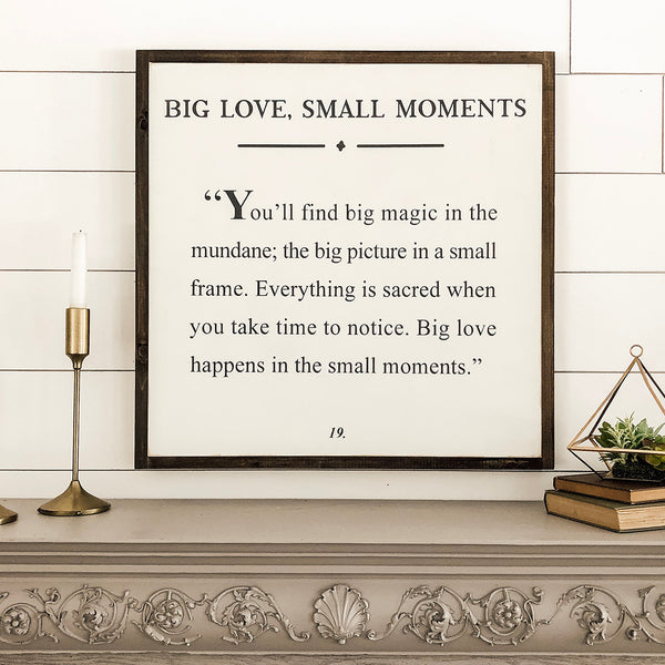BIG LOVE, SMALL MOMENTS  2'X2' WOODEN LYRIC SIGN Bundle