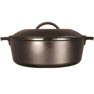 A side view of a black cast iron dutch oven with double handles and lid with handle.