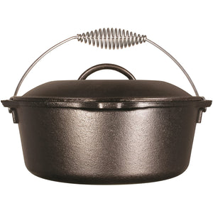 A side view of a black cast iron dutch oven with a bail handle and a lid with handle.