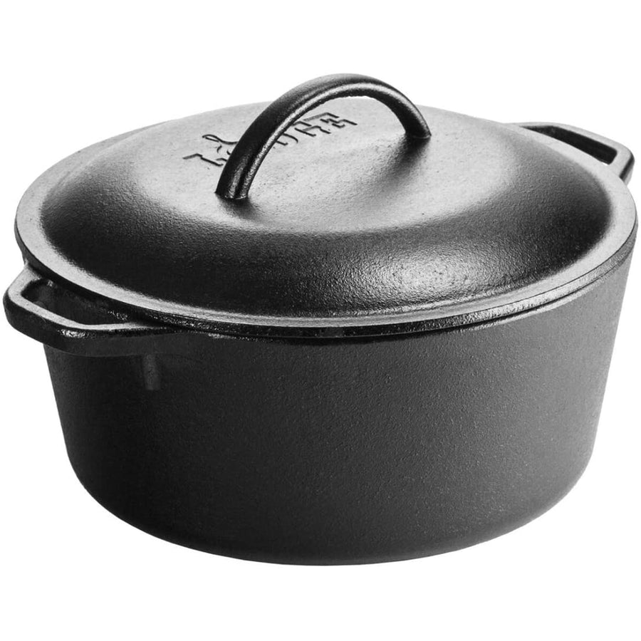 A black cast iron dutch oven with double handles and lid with handle.