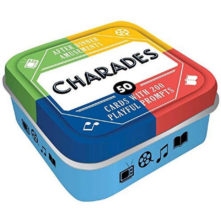 "A blue, red, yellow, and green tin with ""Charades"" written on the top."