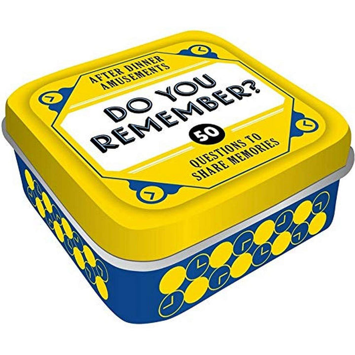"A blue and yellow tin with ""Do You Remember?"" written on the top."