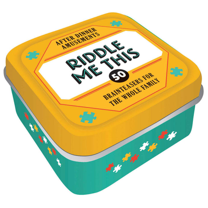 "A yellow and teal tin with ""Riddle Me This"" written on the top."