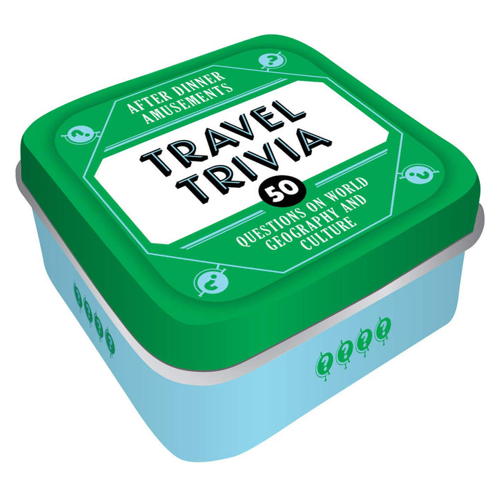 "A blue and green tin with ""Travel Trivia"" written on the top."