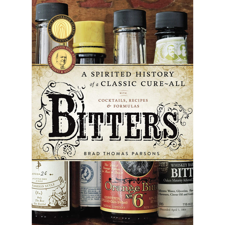 The cover of the book depicting the title and photograph of bottles of bitters.