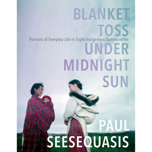The cover of the book depicting the title and two indigenous women dressed in plaid, talking to one another.