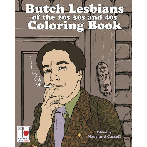 The cover of the book depicting the title and a woman in a suit smoking a cigarette outside of a building with jewish symbols carved next to the door.