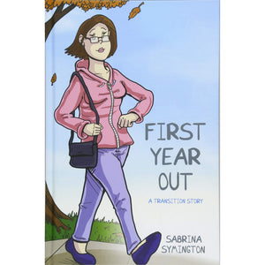 The cover of the book depicting the title and a cartoon woman walking down the sidewalk.