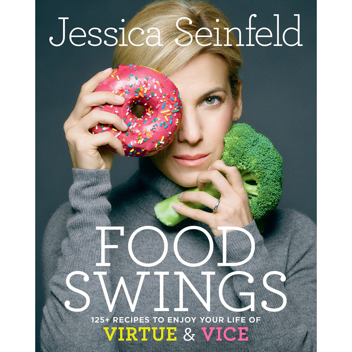 The cover of the book depicting the title and a woman holding a doughnut and broccoli.
