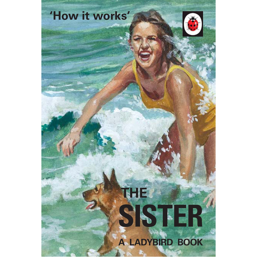 The cover of the book depicting the title and an illustration of a young woman splashing in the waves with her dog.