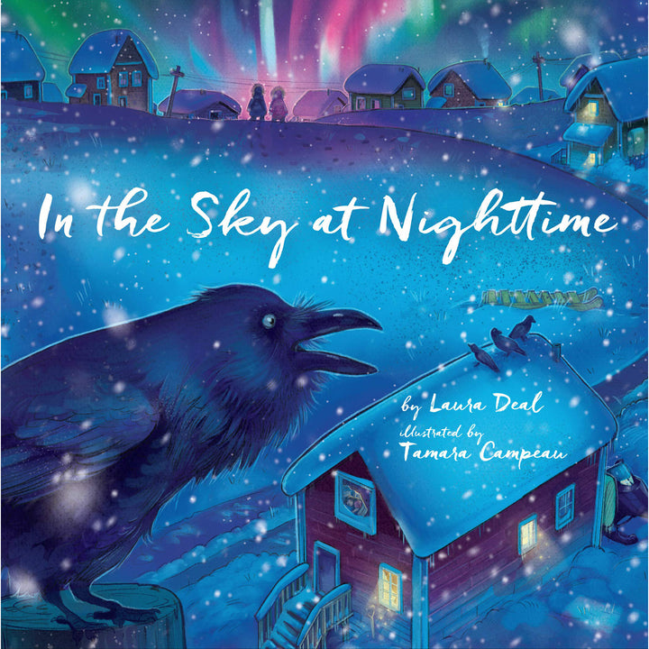The cover of the book depicting the title and a small arctic town bathed in the Northern Lights.