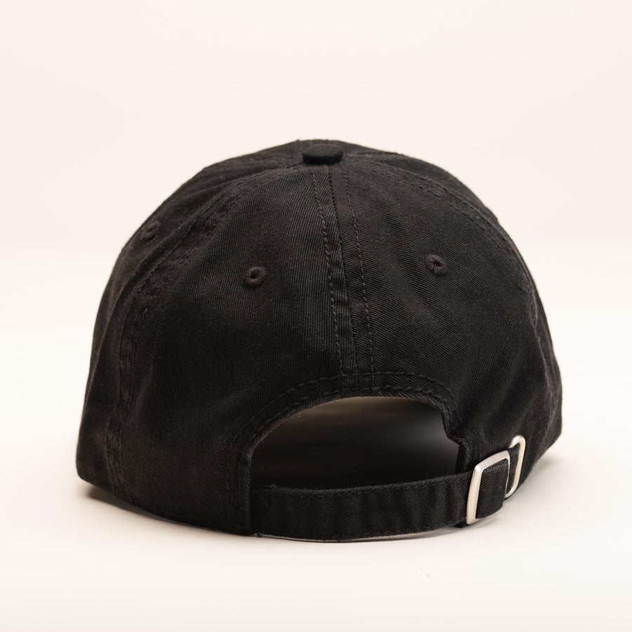 The back of the black ballcap.