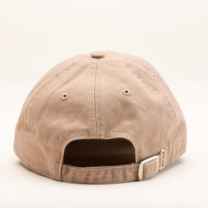The back of the tan ballcap.