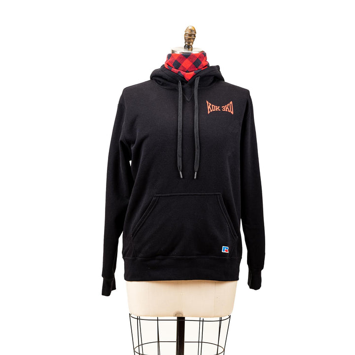 "A black hoodie with a graphic of ""K0K 3K0""."