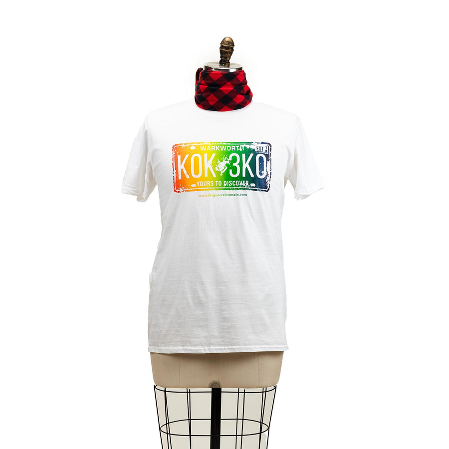 "A white t-shirt with a graphic of a rainbow licence plate, the plate says ""Warkworth K0K 3K0 yours to discover""."