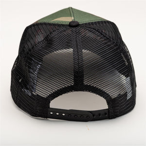 The black mesh back of the camouflage ballcap.