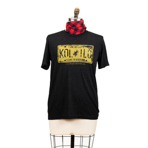 "A grey short sleeve shirt with a graphic of a yellow licence plate, the plate says ""Campbellford K0L 1L0 yours to discover""."