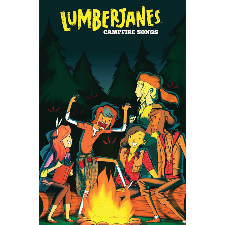 The cover of the book, which has five girls sitting around a campfire.