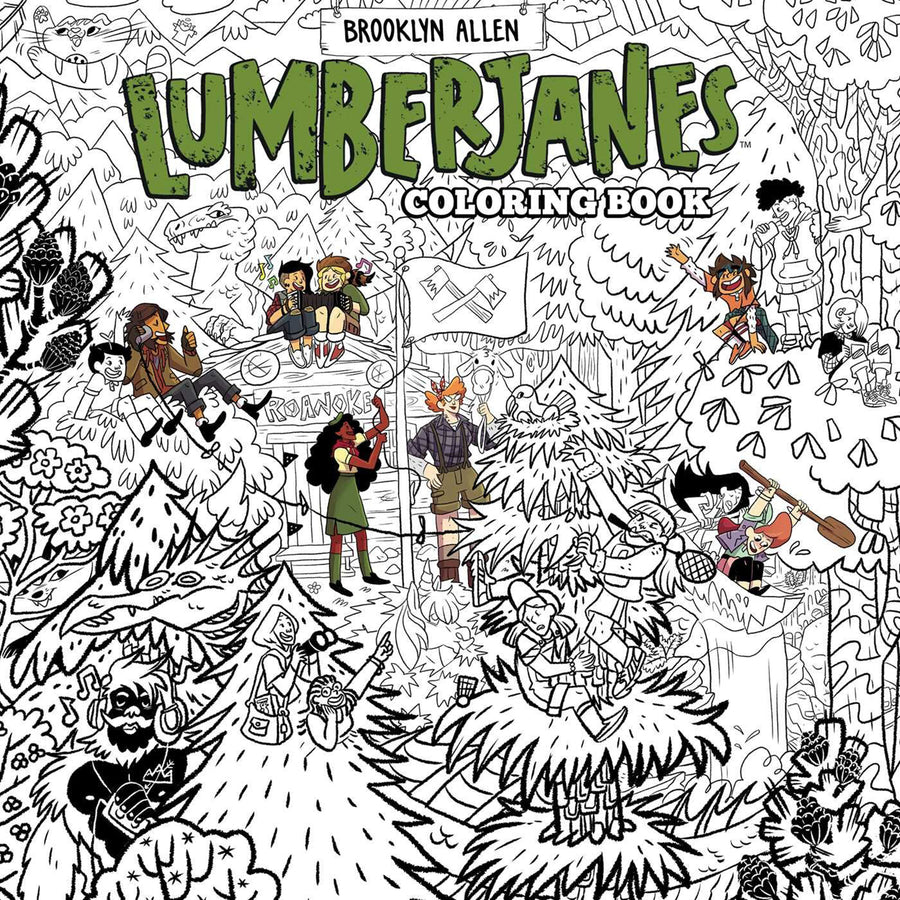 The cover of the book in black and white with some of the characters coloured in.