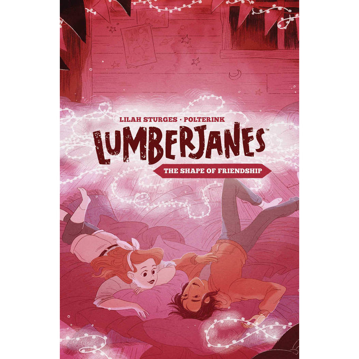 The cover of the book, which has two girls laying on a pile of pillows chatting, surrounded by string lights.