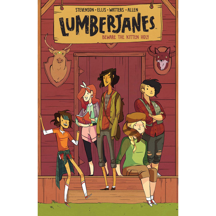 The cover of the book, which has five girls on the front porch of a cabin.