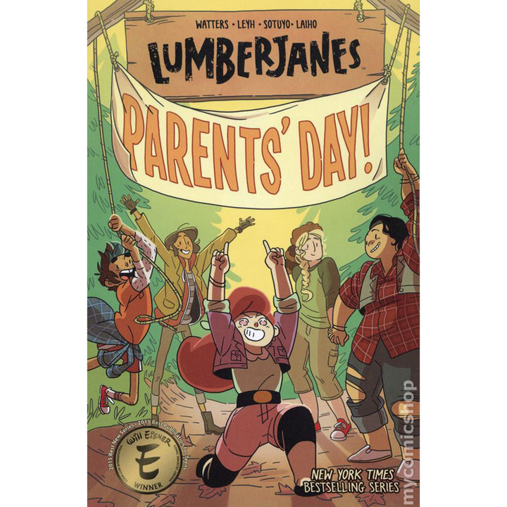 "The cover of the book, which has five girls raising a banner that says ""parents' day""."