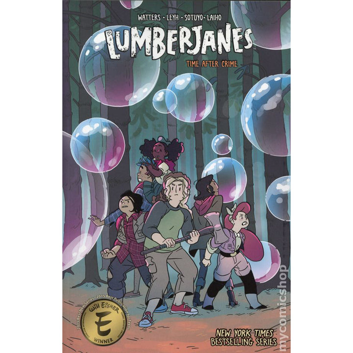 The cover of the book, which has five girls in a dark woods surrounded by bubbles.