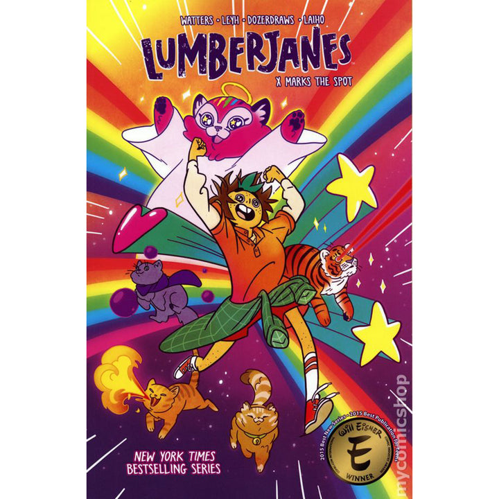 The cover of the book, which has one girl running through rainbows with a group of cats.