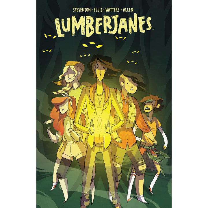 The cover of the book, which has five girls in a dark woods.