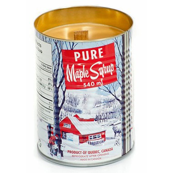 "A tin can with a scene of a red sugar bush in the woods printed on it. ""Pure Maple Syrup"" is printed at the top of the can."