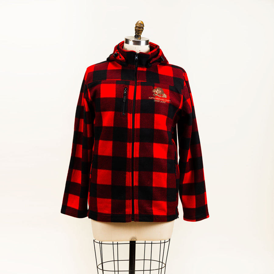 A buffalo check jacket with a zipper and a hood.