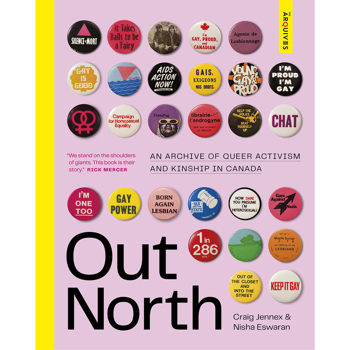 The cover of the book depicting the title and a collection of buttons with various LGBTQ+ slogans.