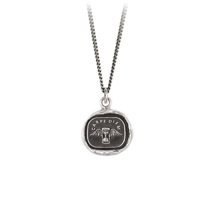 A sterling silver necklace inscribed with a winged hourglass and words in Latin.