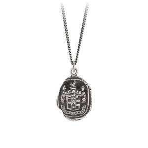 A sterling silver necklace inscribed with a crest and words in Latin.
