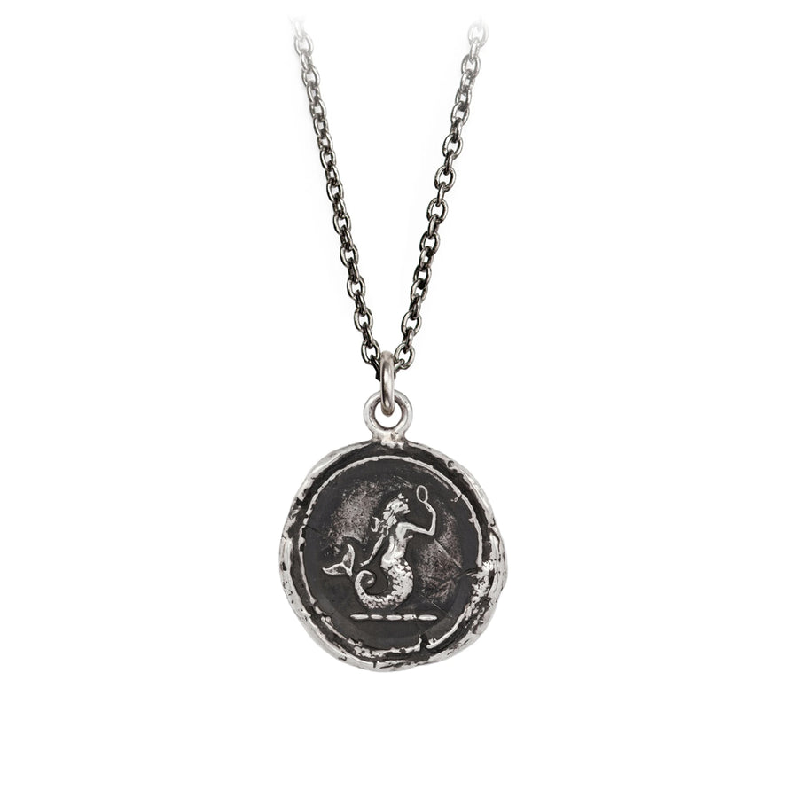 A sterling silver necklace inscribed with a mermaid looking in a hand mirror.
